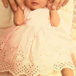 Carter's Beautiful Newborn Pink and White Dress